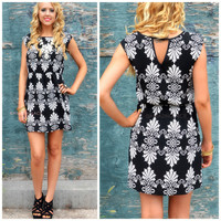 Tantom Black Printed Fit & Flare Dress