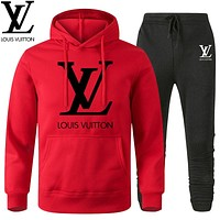 Louis Vuitton LV Classic hot sale printed letter logo hooded  two-piece suit Red