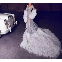 White Ruffles Puffy Long Sleeves Bridal Gown