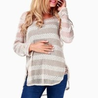 PinkBlush Maternity Beige Striped Maternity Sweater, Small