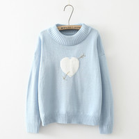 Heart Pattern Pullover Knitted Sweater