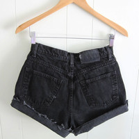 Vintage 90s Black High Waisted Cut Off Denim Shorts Mom Jean Faded New York 27""