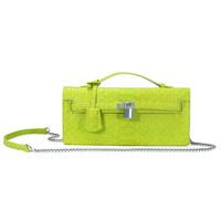 Green Snake Print Cluth Box-type Bag With Lock And Key