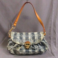 Auth LOUIS VUITTON Mini Pleaty Raye M95333 BlueBlue Monogram Denim SR1016