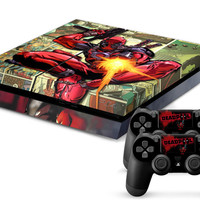 Deadpool Skin for PS4 and 2 controllers