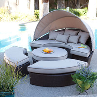 Outdoor Wicker Resin Sectional Sofa Day Bed Chaise Lounge in Khaki with Canopy