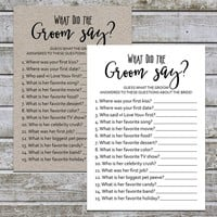 What Did the Groom Say | Rustic Bridal Shower Game | Wedding Shower Games Printable | Groom Game | Bride Game | Instant Download (aa4)