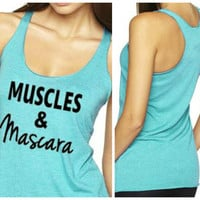 Muscles and Mascara, Workout Tank, Fitness Tank, Crossfit Tank Top, Gym Tank