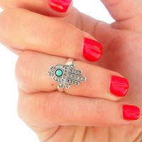Hamsa Above The Knuckle Ring -  Hamsa Ring - Silver Hamsa Knuckle Rings - by Tiny Box