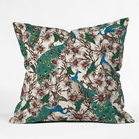 Belle13 Butterflies In My Peacock Garden Throw Pillow