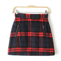 Red Plaid Double Zipper Woolen Skirt