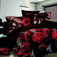 Romantic Bedding Set 3D Rose 4 Piece Duvet Set Queen
