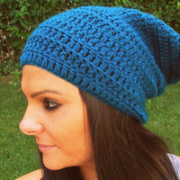 greenish blue crochet hat,petrol blue woman hat,woman slouchy beanie,crochet beanie,woman accessories