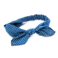 Chambray Polka Dot Knotted Bow Headwrap