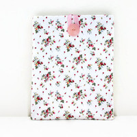 Cream IPad case, tablet cover sleeve in cream fabric with tiny flowers and strawberries,  IPad 2 or IPad Air, handmade in the UK