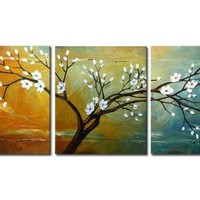 """Wieco Art """"Full Blossom"""" Hand-Painted Modern Framed Floral Oil Paintings on Canvas Wall Art"""