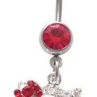Hello Kitty Red Bow Cz Head dangle Belly navel Ring piercing bar body jewelry