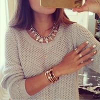 Round Collar Hollow Out Thin Casual Sweater