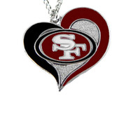 San Francisco 49ers Women's Swirl Heart Necklace