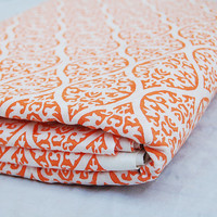 Traditional  design  Indian Hand Printed Cotton Fabric by Yards Voile Orange  White Bleached Wood Stamp Sewing Material Making Shirt/Dress