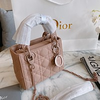 Dior nude pink diamond check women's mini handbag chain shoulder bag crossbody bag