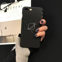Phone Cases for IPhone 6 6s 7 Plus Case Simple Frosted Black Planet Plastic