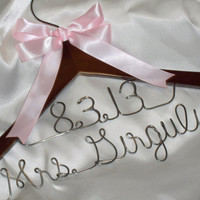 Custom wedding dress hanger with 2 lines  bridal hanger  Mother of the bride hanger  Mother of the Groom  bride hanger with wedding date