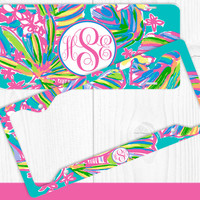 Aqua Hot Pink Summer Monogram License Plate Frame Holder Metal Wall Sign Tags Personalized Custom Vanity