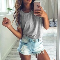 Fashion Casual Solid Color Round Neck Shirt Blouse Tops