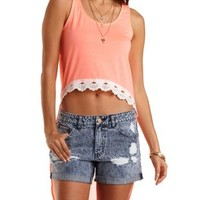 Neon Coral Crochet-Trim Extreme High-Low Tank Top by Charlotte Russe