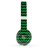 The Green & Black Chevron Pattern Skin Set for the Beats by Dre Solo 2 Wireless Headphones