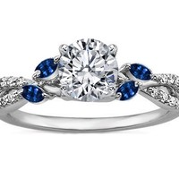 Engagement Ring - Diamond Engagement Ring Blue Marquise Floral Vine in 14K White Gold - ES1102PVBSBR