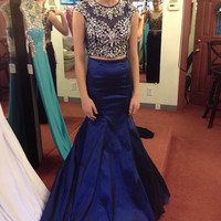 Navy Blue 2016 Two Piece Chiffon Long Prom Dresses with Rhinestones Mermaid Evening Party Gowns Special Occasion Gowns EF51