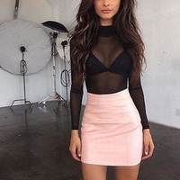 Women High Turtle Polo Neck Sheer Mesh Long Sleeve Shirts Ladies See Through Tops Blouses  8-14