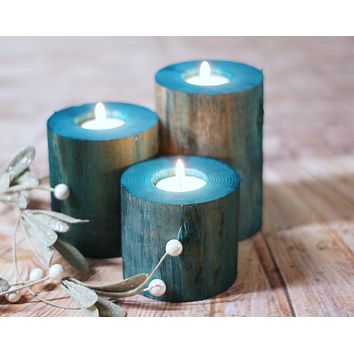 Log Candle Holders, Beach Decor