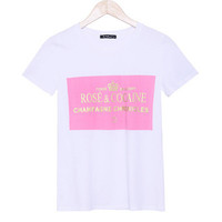 """ Rose and Cocaine "" Pink Round Neck Short Sleeve Women Cotton Casual Shirt Sweatshirt Top Blouse T-Shirt _ 1843"