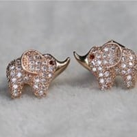 MP Micropave Setting of AAA Quality White Clear CZ Stones Pin Earrings Baby Elephant with Ruby Eyes Rose Golden Color 18K Gold Plated Gift for Her ADP 0704