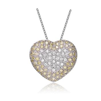 14K Yellow Gold Heirloom Cubic Zirconia Pave Heart Necklace