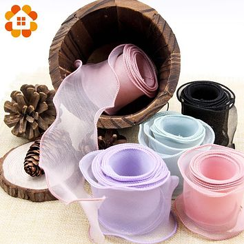 5Yard Colorful Organza Ribbon Wavy Crimping Wedding Packing DIY Crafts Decor For Bouquet Gift Wrapping Candy Box Decorations