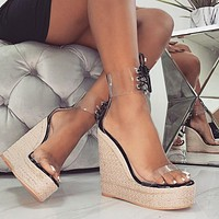 Shoes For Women Open Toe Ankle Platform Beach Sandals Solid Weave High Heels Buckle Strap Sandals Shoes