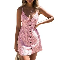 Women's Floral Print Spaghetti Strap Backless A Line Boho Beach Dress
