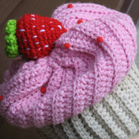 Strawberry Shortcake Cupcake Hat, Crocheted with High Quality Yarn, Perfect for Halloween, Fall, Christmas, Unique, Ready to Ship