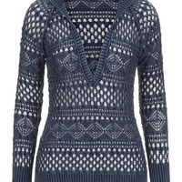 Patterned Open Stitch Sweater - Blue