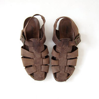 90s chunky leather sandals. huaraches. gladiator buckled sandals.
