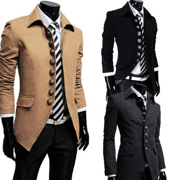 Hot Mens 3 Colors Outerwear French Style Top Coat Slim Single Breasted Jacket