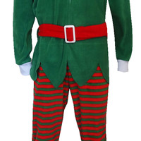 Red And Green Christmas Elf One Piece Pajama
