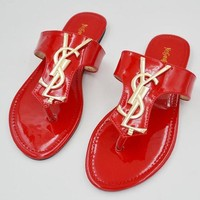 YSL Trending Slippers Women Casual Flat Sandal Slipper Shoes Red
