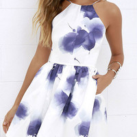 White Straps Blue Ink Printed A-line Mini Dress Open Back