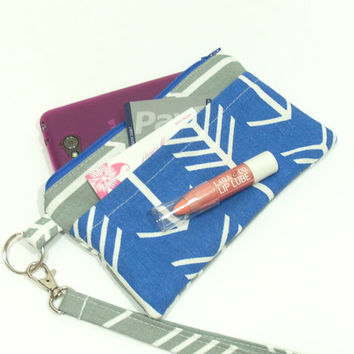 Blue Arrow Wristlet, Cell Phone Wallet, Blue and Gray Clutch