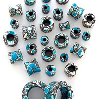 Blue Agate Stone Tunnels - Sold by Pair (Choose Size) (4G (5mm))